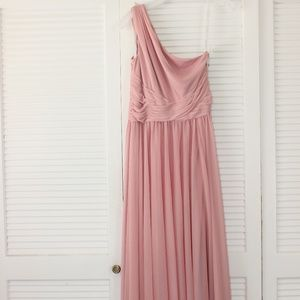 Long one-shoulder blush dress